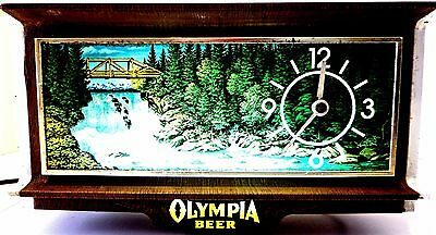 Olympia Beer Motion Waterfall Sign Lighted Clock For Over Cash Register