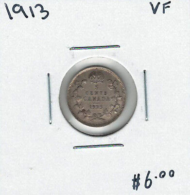 Canada 1913 Silver 5 Cents VF