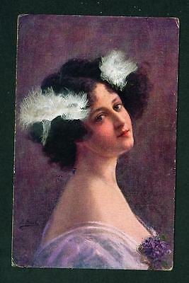 Portrait Of Lady With Feathers In Hair – Unused
