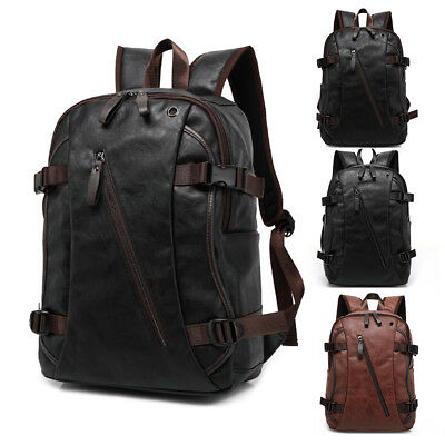 Mens Travel Backpack School Satchel Leather Laptop Camping Rucksack Shoulder Bag