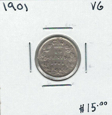 Canada 1901 Silver 10 Cents VG