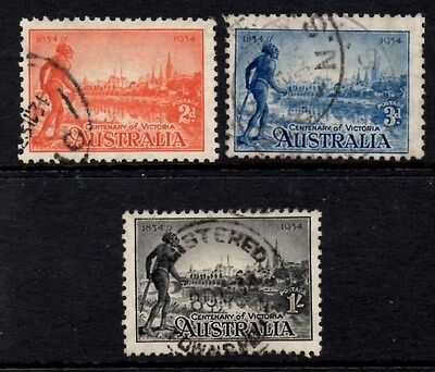 Australia 1934 Centenary of Victoria SG.147a/149a Used  Perf 11.5  Cat:£28