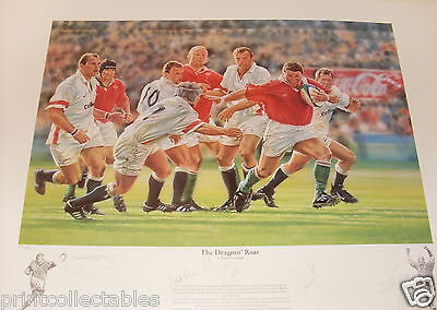 The Dragon's Roar Welsh Rugby Signed Print by Peter Cornwell