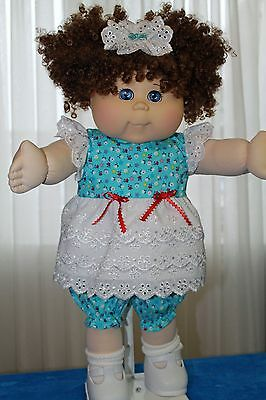 Cabbage Patch Doll Cloths- Blue and white sun dress, - bloomers - hair bow