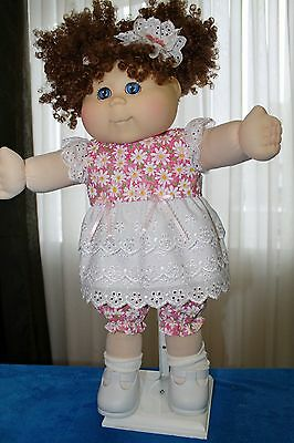 Cabbage Patch Doll Cloths- Pink with white daises dress, bloomers - hair bow