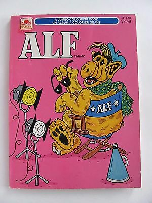 """ALF Jumbo Colouring Book """"Golden Books 1987 Alien Productions"""" 4 Coloured Pages"""
