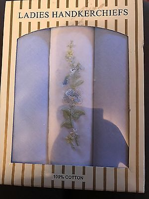 Ladies Gift Box of 3 embroidered blue Handkerchiefs - 100% cotton
