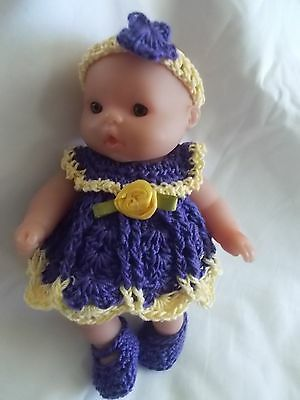 doll clothes fits 5 inch itsy baby 4 piece purple and yellow dress outfit