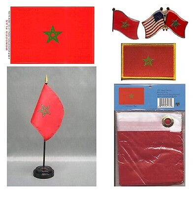 Morocco Heritage Flag Pack - Moroccan  3x5 Flag, 2 Lapel Pins, Vinyl Flag Decal