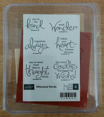 Whimsical Words Stampin' Up! Wood Mount Rubber Stamp Set New Unmounted