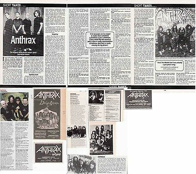 ANTHRAX : CUTTINGS COLLECTION -adverts interviews-
