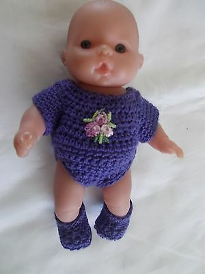doll clothes fits 5 inch itsy baby 2 piece lot purple onies + booties
