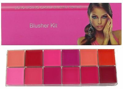 Saffron Long Lasting 12 x Cream Blusher Blush Palette Kit