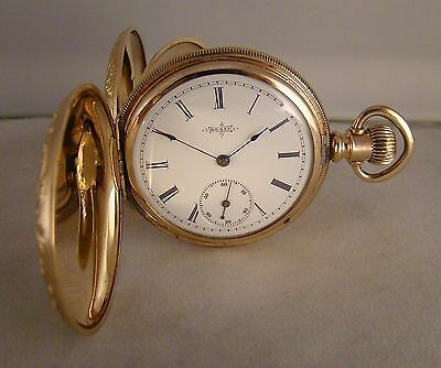 129 YEARS OLD ELGIN 14k GOLD FILLED HUNTER CASE GREAT LOOKING 8s POCKET WATCH