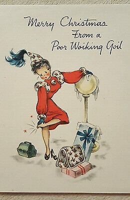 "Vintage Christmas Greeting Card ""poor working girl"" Hallmark unused 1947"