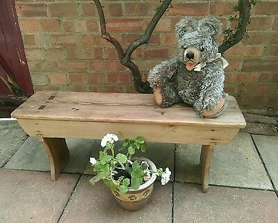 Antique old rustic pine bench stool monks pew long table potter's bench display
