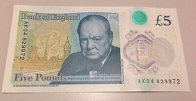 AK04 Serial 5 pound note sterling notes collector rare AA AK New Polymer Five £5