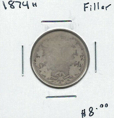 Canada 1874H Silver 25 Cents Filler