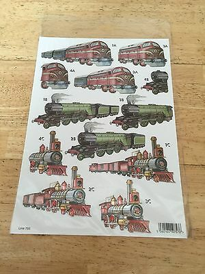 Brand New A4 Sheet Of Die Cut Train Decoupage