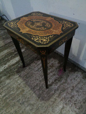 Vintage Italian Antique Style Sewing Box Card Side Table Marquetry Inlay