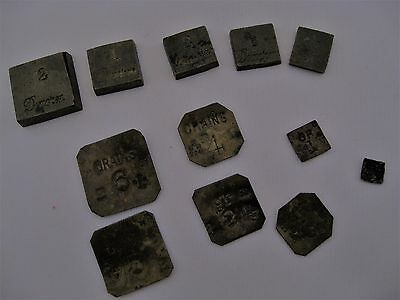 12 Antique Apothecary Weights Brass GR Mark Grains Drachm Scruple