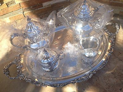 5 Pc Clean Heavy Wallace Grande Baroque Sterling Coffee / Tea Set Matching Tray
