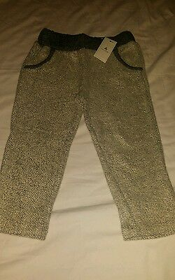 BABY GAP GIRL Metallic Loop Oatmeal Gray Gold Sweatpants Size 2 years NWT