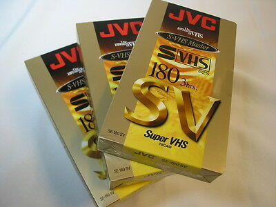 3 of JVC E180  S-VHS   Blank VHS Video Cassette Tapes New   & sealed.