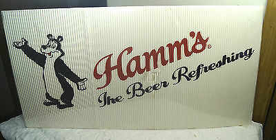 NOS Vintage Hamms Beer Corrigated Cardboard Collectible Advertising Sign W/ Bear