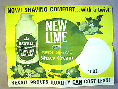NOS 1950s Rexall LIME Shave Cream Razor Drug Store Display Advertising Sign 2