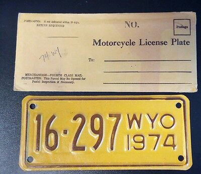 1974 WYOMING MOTORCYCLE LICENSE PLATE Never Used, NOS w/Original Envelope