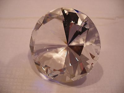 Large Cut Glass Crystal Diamond Paperweight