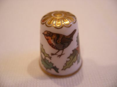 Vintage Spode Fine Bone China Thimble Christmas Pudding Holly Robin Marked 25