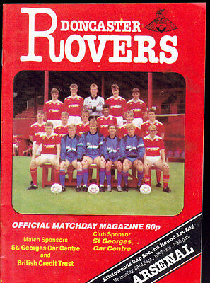 1987/88 DONCASTER ROVERS V ARSENAL 23-09-1987 League Cup 2nd Round 1st Leg