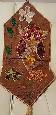 Vintage Completed Latch Hook Wall Hanging Hoot Owl decor