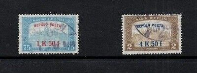 Hungary 1918 Parliament Buildings - Air Mail Issue SG.271/272   Used Set of 2