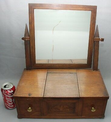Antique Walnut Shaving Mirror with Eagle Inlaid Marquetry