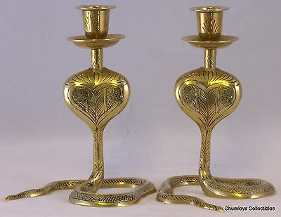 Vintage Pair of Brass Painted Cobra Candle Holders 13cms tall
