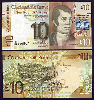 2014 Clydesdale Bank £10 - REPLACEMENT - Thorburn ( Chief Executive ) - UNC