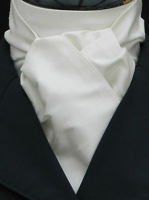 Riding Stock - Self Tie White 100% Top Quality Pure Silk Dressage Hunting Show