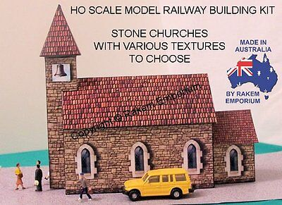 HO Scale Church Stone Model Railway Building Kit