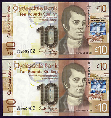 2014 Clydesdale Bank £10 - REPLACEMENT PAIR - LAST DATE - Thorburn - perfect UNC