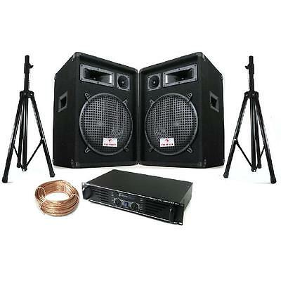 """New Party Pa Sound System 'boston' 12"""" Pa Speakers Stands Bag 600W Dj Amplifier"""