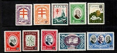 Latvia 1931  Anti-T.B.Fund   Surcharged SG.196/205   Mint Hinged Set of 10