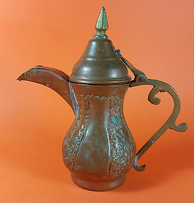 Antique Old Arab Islamic Copper Brass Dallah Coffee Pot Middle Eastern Saudi VTG