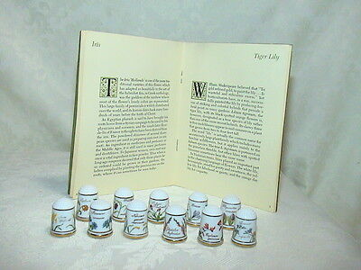 Vtg Lot of 11 FRANKLIN PORSELEIN FLOWER THIMBLES The Flowers of Holland 1978