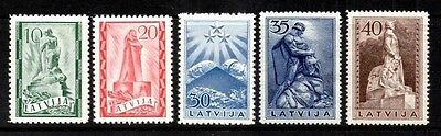 Latvia 1937 Monuments  SG.263/267 Part Set of 5 Mint (Hinged) Higher Values