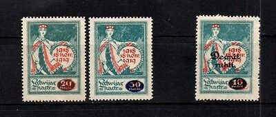 Latvia 1920 Surcharged Issues SG.64/65 & 74  Mint (Hinged)