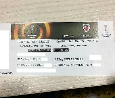 Ticket Mint Athletic Bilbao-Genk Belgium 16-17 San Mames