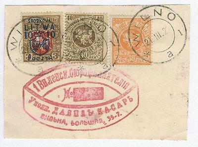 Poland local 1920 Central Lithuania on card